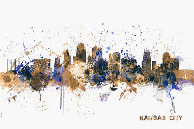 Kansas City Skyline Poster by Michael Tompsett