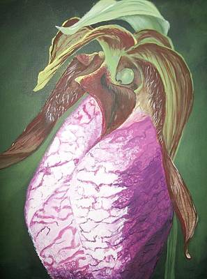 Poster featuring the painting Lady Slipper Orchid by Sharon Duguay