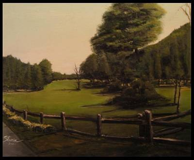 Landscape Of Duxbury Golf Course - Image Of Original Oil Painting Poster