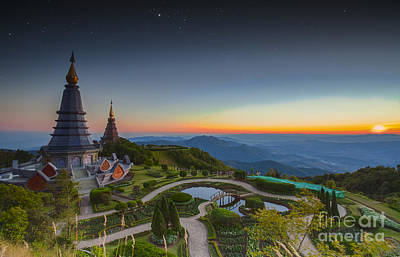 Landscape Of Two Pagoda At Doi Inthanon Poster by Anek Suwannaphoom