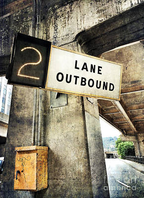 2 Lane Outbound Traffic Sign Poster by Amy Cicconi