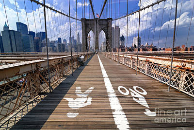 Lanes For Pedestrian And Bicycle Traffic On The Brooklyn Bridge Poster by Amy Cicconi