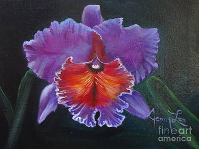 Poster featuring the painting Lavender Orchid by Jenny Lee