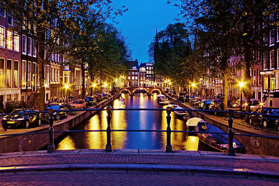 Poster featuring the photograph Leidsegracht Canal At Night / Amsterdam by Barry O Carroll