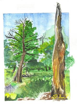Poster featuring the painting Lightening Strike Tree by Sherril Porter