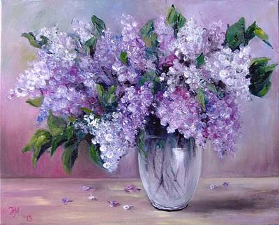 Poster featuring the painting Lilac by Nina Mitkova
