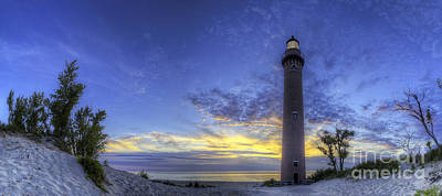 Little Sable Lighthouse In Evening Poster by Twenty Two North Photography