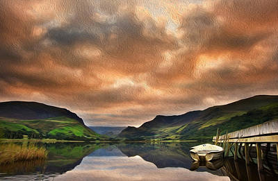 Llyn Nantlle At Sunrise Looking Towards Mist Shrouded Mount Snowdon Digital Painting Poster by Matthew Gibson