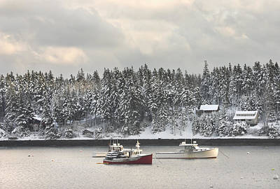 Lobster Boats After Snowstorm In Tenants Harbor Maine Poster