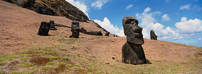Low Angle View Of Moai Statues, Tahai Poster