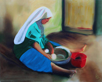 Poster featuring the painting Making Bread by Deborah Boyd