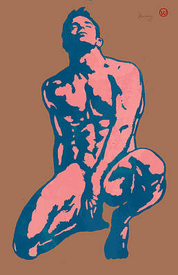 Man Nude Pop Stylised Etching Art Poster  Poster by Kim Wang