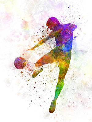 Man Soccer Football Player Flying Kicking Poster by Pablo Romero
