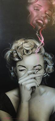 Marilyn Monroe - ' Marilyn's Crimson Haze ' Poster by Christian Chapman Art