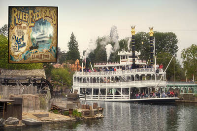 Mark Twain Riverboat Signage Frontierland Disneyland Poster by Thomas Woolworth