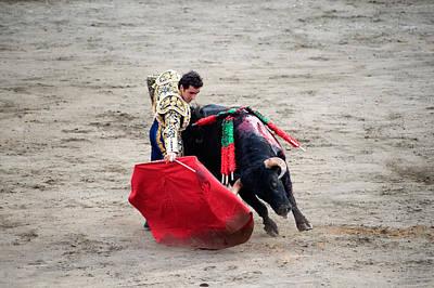 Matador And A Bull In A Bullring, Lima Poster