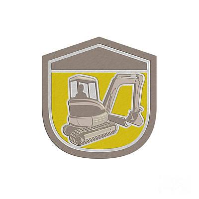 Mechanical Digger Excavator Shield Retro Poster