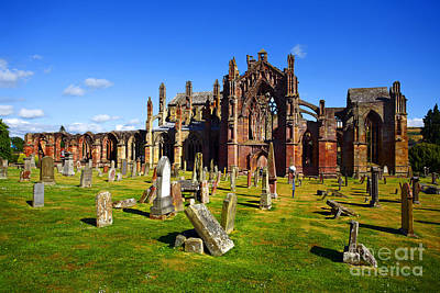 Poster featuring the photograph Melrose Abbey Scotland by Craig B