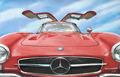 Mercedes Gullwing Poster by Rod Seel