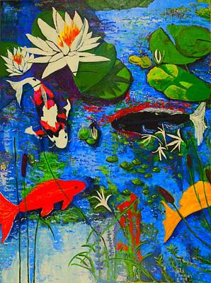 Poster featuring the painting Miami Koi Collage by Angela Annas