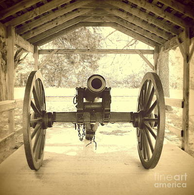 Military Cannon Fort Washita Poster by Mickey Harkins