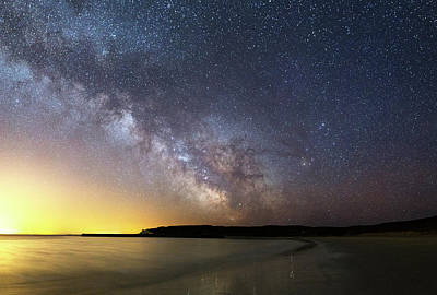 Milky Way Over The Coast Poster by Laurent Laveder
