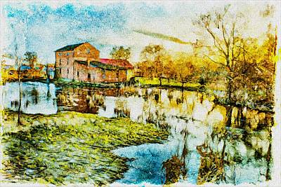 Poster featuring the digital art Mill By The River by Jaroslaw Grudzinski