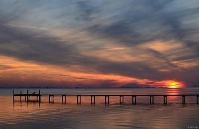 Poster featuring the photograph Mirrored Sunset Colors On Santa Rosa Sound by Jeff at JSJ Photography