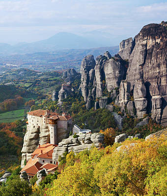 Monastery On A Cliff  Meteora, Greece Poster
