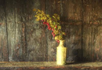 Monet Style Digital Painting Retro Style Still Life Of Dried Flowers In Vase Against Worn Woo Poster