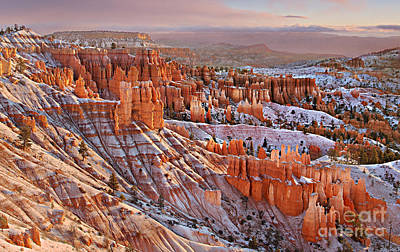 Poster featuring the photograph Morning Snow At Bryce by Roman Kurywczak