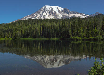 Mount Rainier From Reflection Lake Poster by Bob Noble Photography