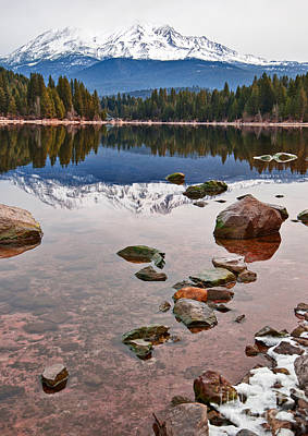 Mount Shasta Reflection -  Lake Siskiyou In California With Reflections. Poster