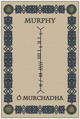 Poster featuring the digital art Murphy Written In Ogham by Ireland Calling