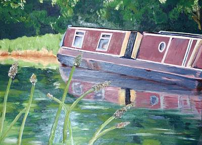 Narrowboat Poster by Isabella F Abbie Shores FRSA