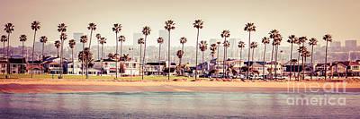 Newport Beach Skyline Retro Panorama Photo Poster
