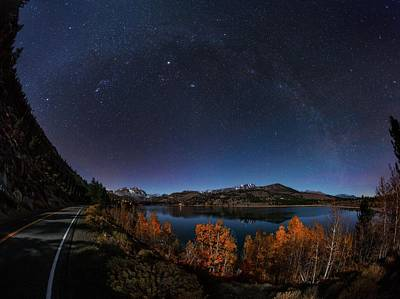 Night Sky Over June Lake Poster