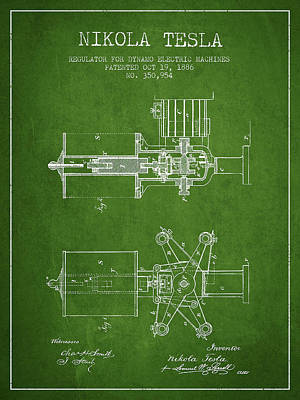 Nikola Tesla Patent Drawing From 1886 - Green Poster by Aged Pixel