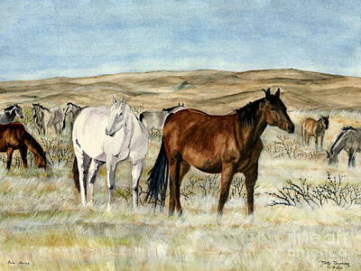 Poster featuring the painting Nine Horses by Melly Terpening