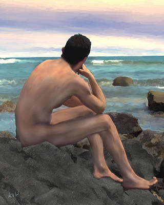 Nude Male By The Sea Poster by Kurt Van Wagner