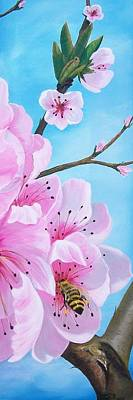 #2 Of Diptych Peach Tree In Bloom Poster by Sharon Duguay