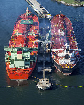 Oil Tankers Docked At Oil Pier, Down Poster by Dave Cleaveland