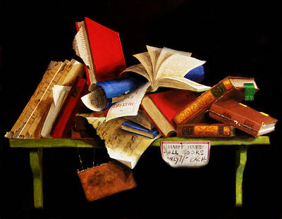 Poster featuring the painting Old Books For Sale by Barry Williamson