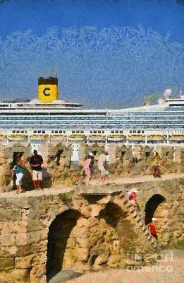 Old Fortification And Cruise Ship Poster