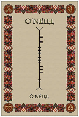 Poster featuring the digital art O'neill Written In Ogham by Ireland Calling