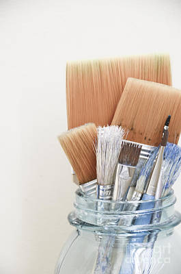 Paint Brushes In Jar Poster by Birgit Tyrrell