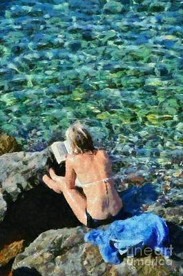 Painting Of Woman In Hydra Island Poster