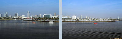 2 Panel Shoreline Long Beach Ca 01 Poster by Thomas Woolworth