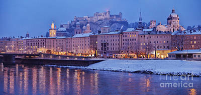 Panorama Of Salzburg In The Winter Poster by Sabine Jacobs