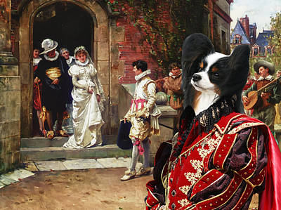 Papillon Dog - Continental Toy Spaniel Art Canvas Print Poster by Sandra Sij